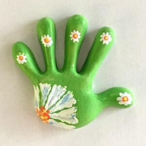 Hand of Courage Fridge Magnet – White Flower